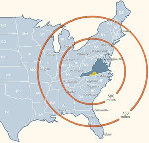 Southern Virginia Regional Alliance major market distances