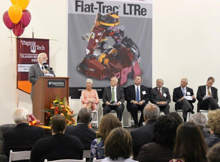 Dr. Tom Dingus, director of the Virginia Tech Transportation Institute, addresses the crowd at the National Tire Research Center ribbon-cutting event in Halifax County.